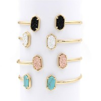 Fashion Oval Double Resin Druzy Bracelets Bangles for Women Jewelry Display