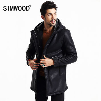 New Winter Leather long jacket  men coats casual warm slim fit clothing