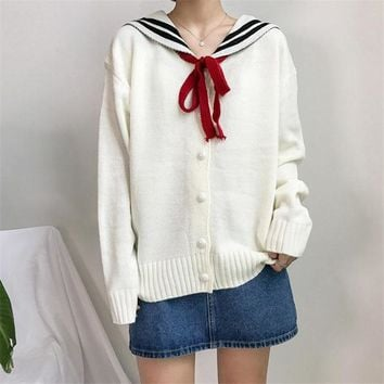 2018 Early Spring Korea Women's New long-sleeved lapel kawaii letters Embroidered Harajuku Sweater Cardigan
