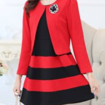Red and Black Floral Patched Long Sleeve Blazer with Sundress Suits