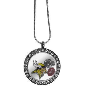 Minnesota Vikings Rhinestone Floating Charm Locket Necklace