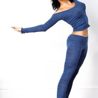 Sexy, Chic & Unique Off Shoulder Top & Low Rise Stretch Knit Tights by KD dance New York Made In USA