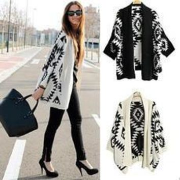 Fashion Women Casual Oversized Knit Sleeve Sweater Coat Knitwear Cardigan Jacket [8789877447]