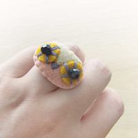Felt ring - Owl ring - Kawaii ring - Felt accessories -  READY TO SHIP
