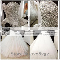 Two Pieces Ball Gown Wedding Dresses Luxury Sweetheart Wedding Gown with Rhinestones Royal Princess Gowns with Pearls/Crystals