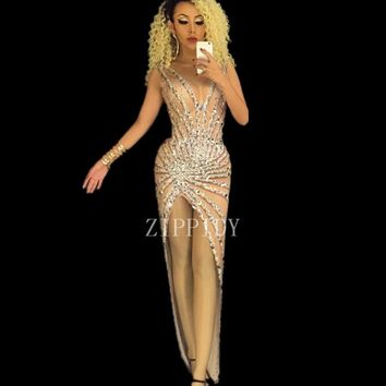 Sexy Big Crystals Rhinestone Dress Nightclub Dance Wear Bodysuit Leggings Prom Celebrate Outfit Performance Party Dress