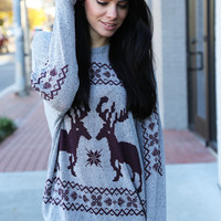Deer To Me Sweater {Maroon}