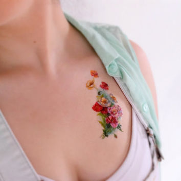 Vintage Poppies temporary tattoo - Floral, Unique, Tattoo, Ink, Flower, Floral