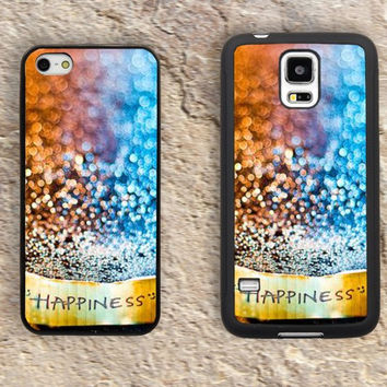 Happiness iPhone Case-Bling Blue Golden iPhone 5/5S Case,iPhone 4/4S Case,iPhone 5c Cases,Iphone 6 case,iPhone 6 plus cases,Samsung Galaxy S3/S4/S5-027