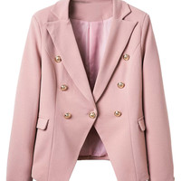 Pink Lapel Pocket Edge to Edge Slim Blazer
