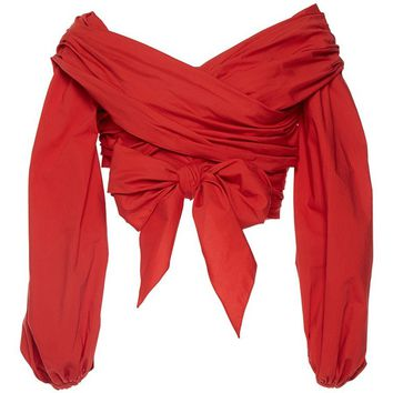 Chicloth Red Off the Shoulder Zipper Puff Sleeve Bow Tie Blouse