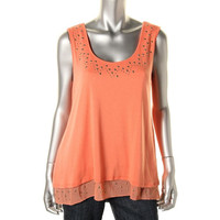 Style & Co. Womens Petites Scoop Neck Studded Tank Top