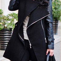 Stand Collar Faux Leather Zippered Wool Coat