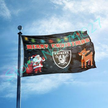 95*150cm US flag with Merry Christmas Oakland Raiders Flags 3x5 FT Banner 100D Polyester flag Home Decor Accessories
