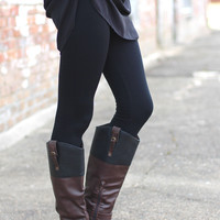 Thick, Solid Plush Lined Legging {Black}