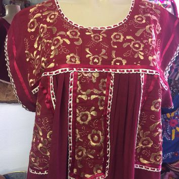Mexican Fino Embroidered Maxi Dress Magenta and Gold