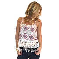 Baby I Love You Fringe Tank Top