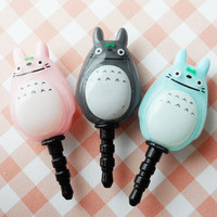 Totoro(double faced) earphone plug - Skyblue
