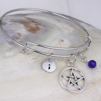 Crystal Beads Five-pointed star semicolon charm adjustable bangle bracelet