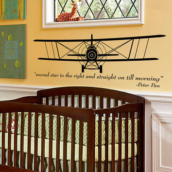 Vintage Airplane - Bi-Plane - aeronautical pilot wall art sillhouette kids room decal with Peter Pan quote