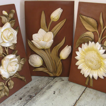 mid century wall decor set of 3 floral plaques plaster plaques hollywood regency shabby cottage