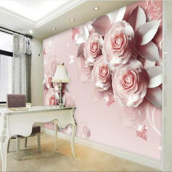 beibehang Customized carved photo paper rose the romance TV scenery European decorative wall paintings 3D wallpaper wallpaper