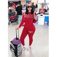 GUCCI Fashion Women Casual Print Pullover Top Sweater Pants Trousers Set Two-Piece Red