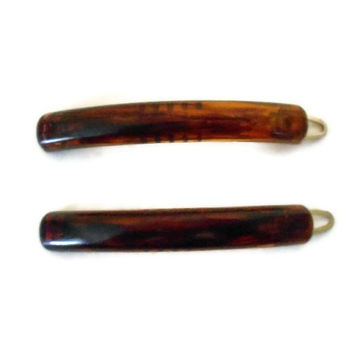 Vintage Hair Barrettes Amber Brown Tortoise by TheRetroStudio