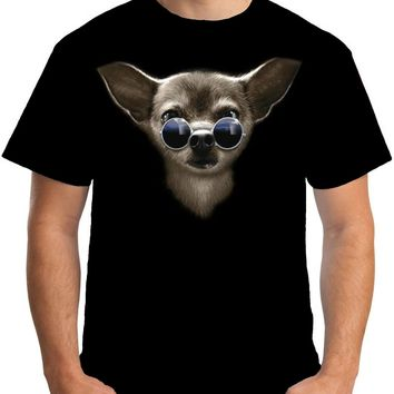 Chihuahua Face with Eyeglasses T-Shirts - Men's Top Tee