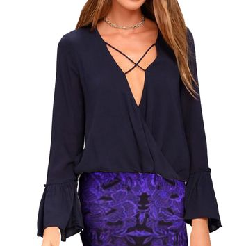 Elegant Crossed Deep V Neck Long Bell Sleeve Ruffles with Irregular Hem Blouse for Women
