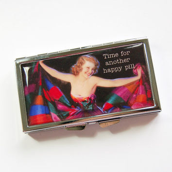 7 day pill case, 7 day pill box, Happy Pill, Retro pill case, Pill box, 7 sections, Pill container, Pill case, funny pill case (3949)