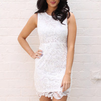 Luxe Appliqué Overlay Guipure Lace Dress with Sheer Back in Soft Cream