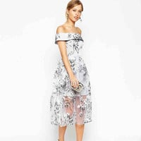 Light Gray Floral Off-Shoulder Chiffon Midi Dress