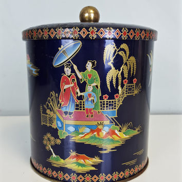 Vintage Daher Tin Navy Blue Red Green Yellow Japan Motif English England Japanese Pattern Asian Theme Decor Tea Tin Shabby Chic Cottage