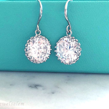Sterling Silver Wedding Earrings, Cubic Zirconia Bridesmaid Earrings, Gift, Bridal Jewellery, Round Crystal Earrings