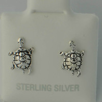Turtle Stud Earrings Petite 925 Sterling Silver 9mm