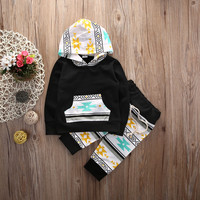 Baby Clothing Sets  Newborn Baby Girls Boys Casual Hooded Sweatshirt Tops+Pants 2Pcs Baby Girls Clothes  Set Outfits