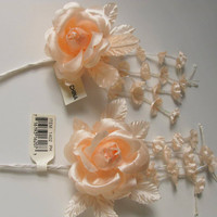 Peach Craft Flowers, Shabby Flower, Peach Fabric Roses, Craft Artificial Flowers, Rose Light Pink