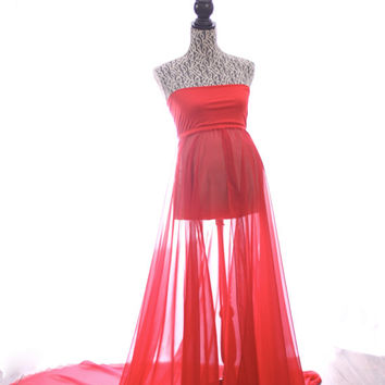 Red chiffon circle cut maternity gown. Photography prop.