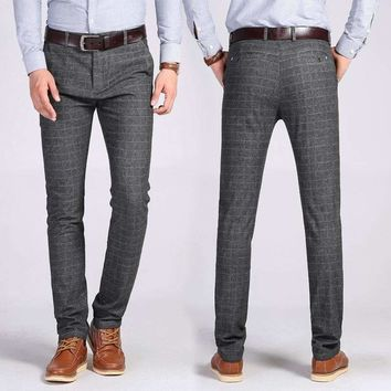 Mens Pant Cotton Grid Mens Pants Straight Long Male Classic Business Casual Trousers
