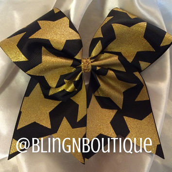 Gold Star Struck - Gold/Black Cheer Bow