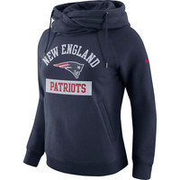 Women's New England Patriots Nike Navy Tailgate Funnel Pullover Hoodie