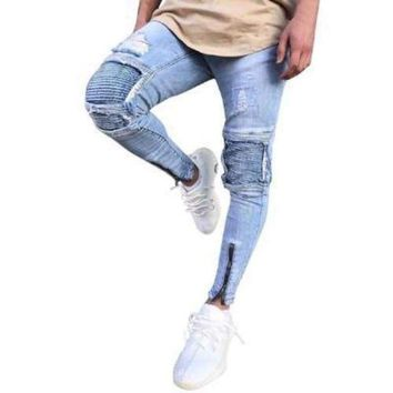 Men's Slim Fit, Distressed, Ripped Jeans