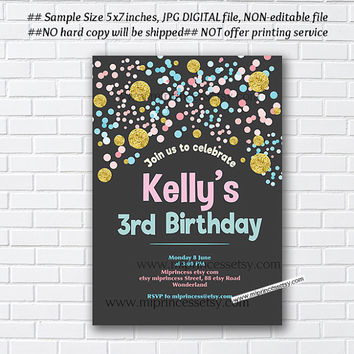 Gold pink and blue Confetti Birthday Invitation for any age 1st 2nd 3rd 4th 5th 6th 7th kids party invite - card 1014