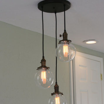 "Chandelier Light   - 3Strands  6"" Glass Globe Chandelier on 10"" Oil Rubbed Bronze Canopy with Edison Bulbs Optional"