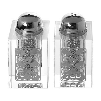 "Crystal Salt And Pepper Shaker Set Broken Glass & Barely Silver Design 3""H"