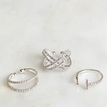 Diamond Ring Set Silver
