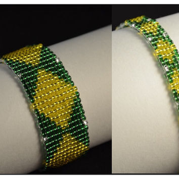 Hand Weaved Bright Summertime Diamond Beaded Bracelet - Arm Candy & Anklet - Ankle Candy