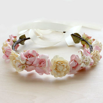 Ethereal Bridal Floral Crown, Pink and Cream, Flower Crown. Woodland, Boho, Bridal, Hair Accessories, Garden Wedding