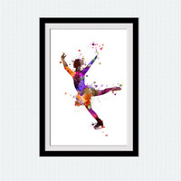 Figure skating poster Ice skating watercolor print Figure skating colorful illustration Home decoration Kids room decor Christmas gift  W394